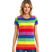 Rainbow T-Shirt Women Black and White Striped Shirt Red and White Stripes Tees Short Sleeve Casual Tops(China)