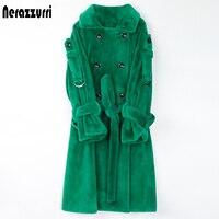 Nerazzurri długa, ciepła puszyste futro płaszcz trencz dla kobiet 2020 podwójne piersi różowy biały zielony Plus rozmiar zima modny pasek