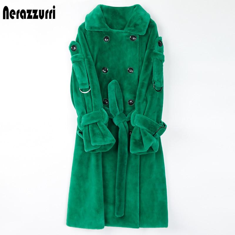 Nerazzurri Длинный пушистый женский тренч из искусственного меха 2020 с поясом Двубортный розовый белый зеленый плюс размер зимняя мода. шуба иску...