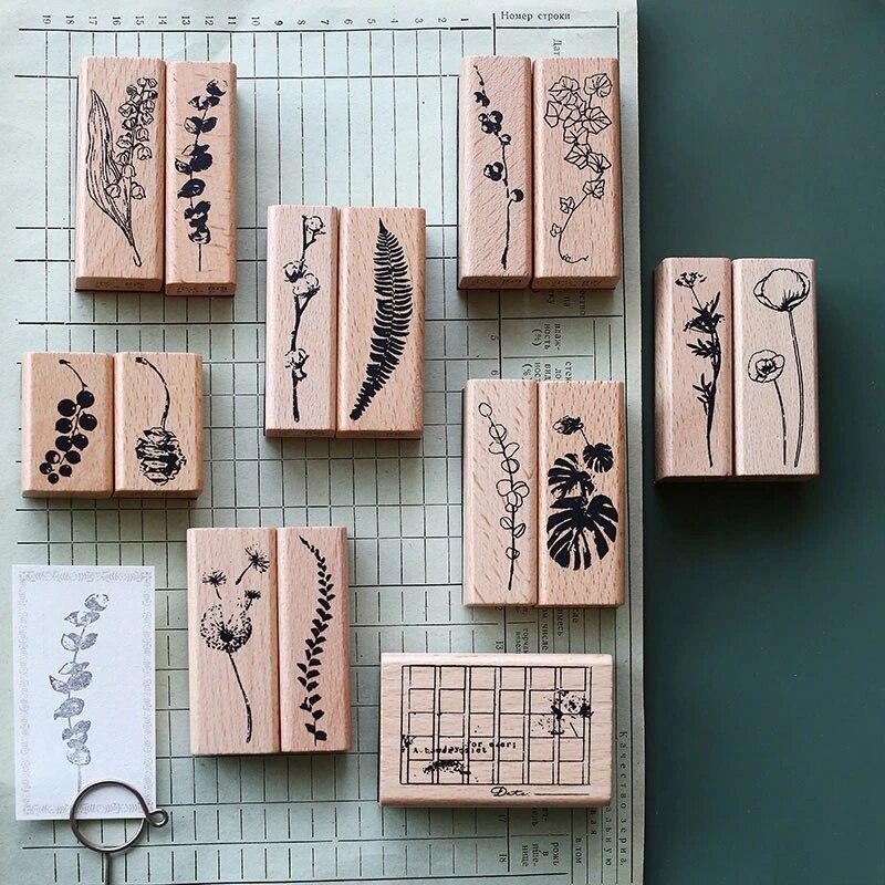 1 Pcs Long Rectangular Basic BUJO Wooden Rubber Stamps Scrapbooking Wooden Rubber Stamps for Journals