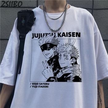 Harajuku męska koszulka Jujutsu Kaisen z nadrukiem Unisex koszulka z krótkim rękawem fajna kreskówka Anime luźna koszulka męska Streetwear topy tanie i dobre opinie ZSIIBO CASUAL SHORT CN (pochodzenie) COTTON summer Gotycki Z okrągłym kołnierzykiem tops Z KRÓTKIM RĘKAWEM Regular