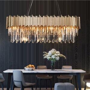 Image 2 - Phube oświetlenie nowoczesna kryształowa żyrandol luksusowe owalne złote zawieszki oprawy oświetleniowe jadalnia zawieszenie LED nabłyszczania