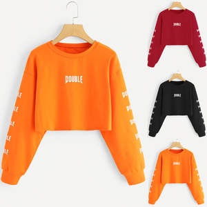 Blouse Sweatshirts Tops Pullovers Letter Long-Sleeve Orange Black Red Women Print Casual