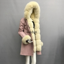 2019 natural fox fur coat Silver Fox collar plus size long winter Jacket Rex rabbit liner red hooded thick warm parks Disass