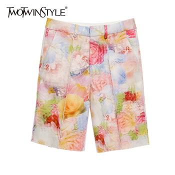 TWOTWINSTYLE Casual Loose Women Shorts High Waist Print Straight Ruched Hit Color Short Pants For Female Clothes 2020 Spring New
