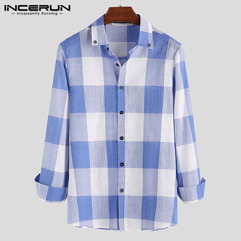INCERUN Fashion Men Classic Plaid Shirt Long Sleeve Lapel Autumn Blouse Brand Fitness Casual Men Shirts Camisa 2019 Streetwear