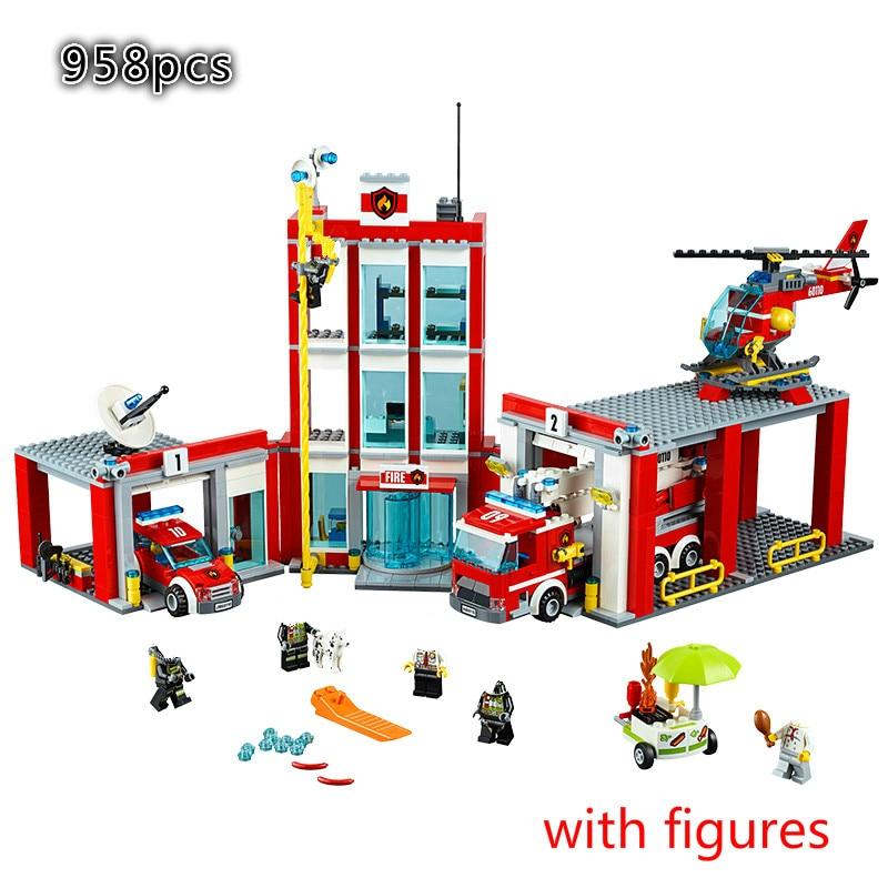 New City Series Toys Bricks Fire Station Compatible Building Blocks Figure