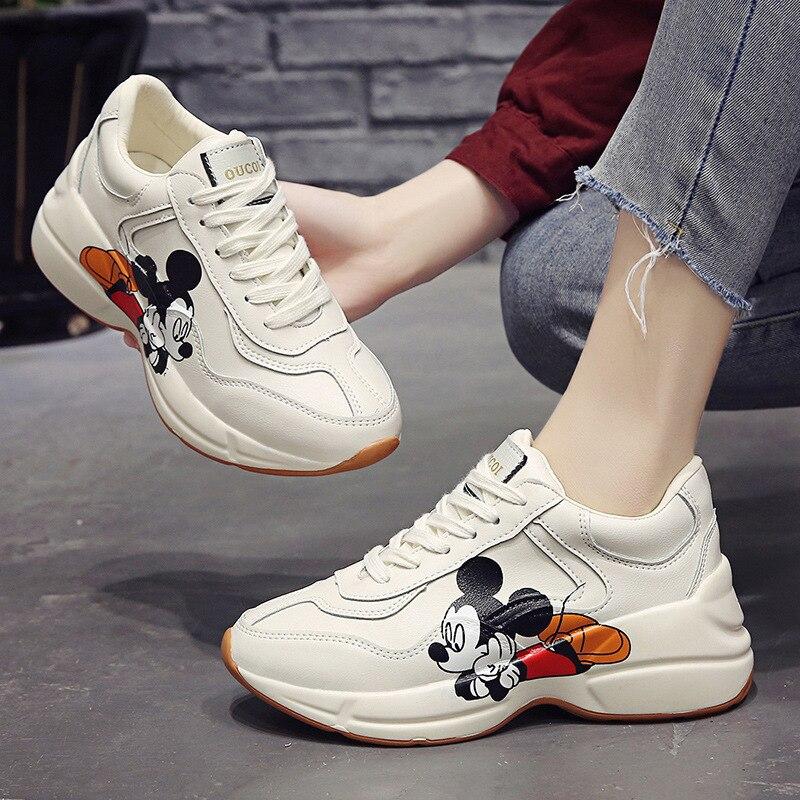 2020 Spring  Women Sneakers Chunky Fashion Women Flats Platform Shoes Lace Up Vulcanize Cartoon Mickey Print Women Footwear 2ha3