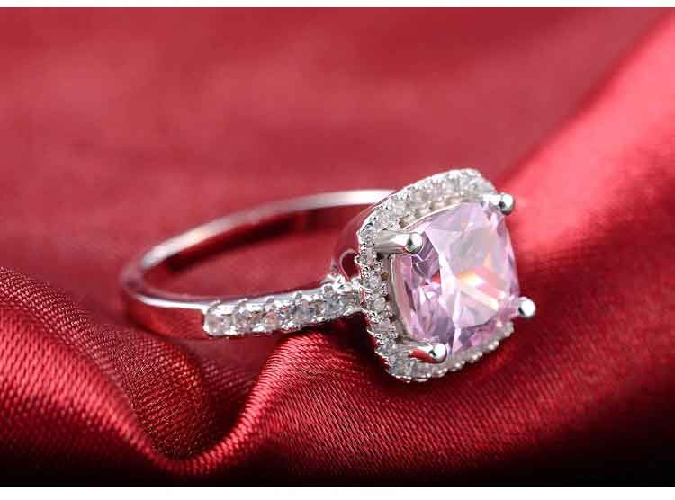Jewelry-Set Stud-Earring Cushion Zircon Engagement-Ring 925-Sterling-Silver Wedding Women