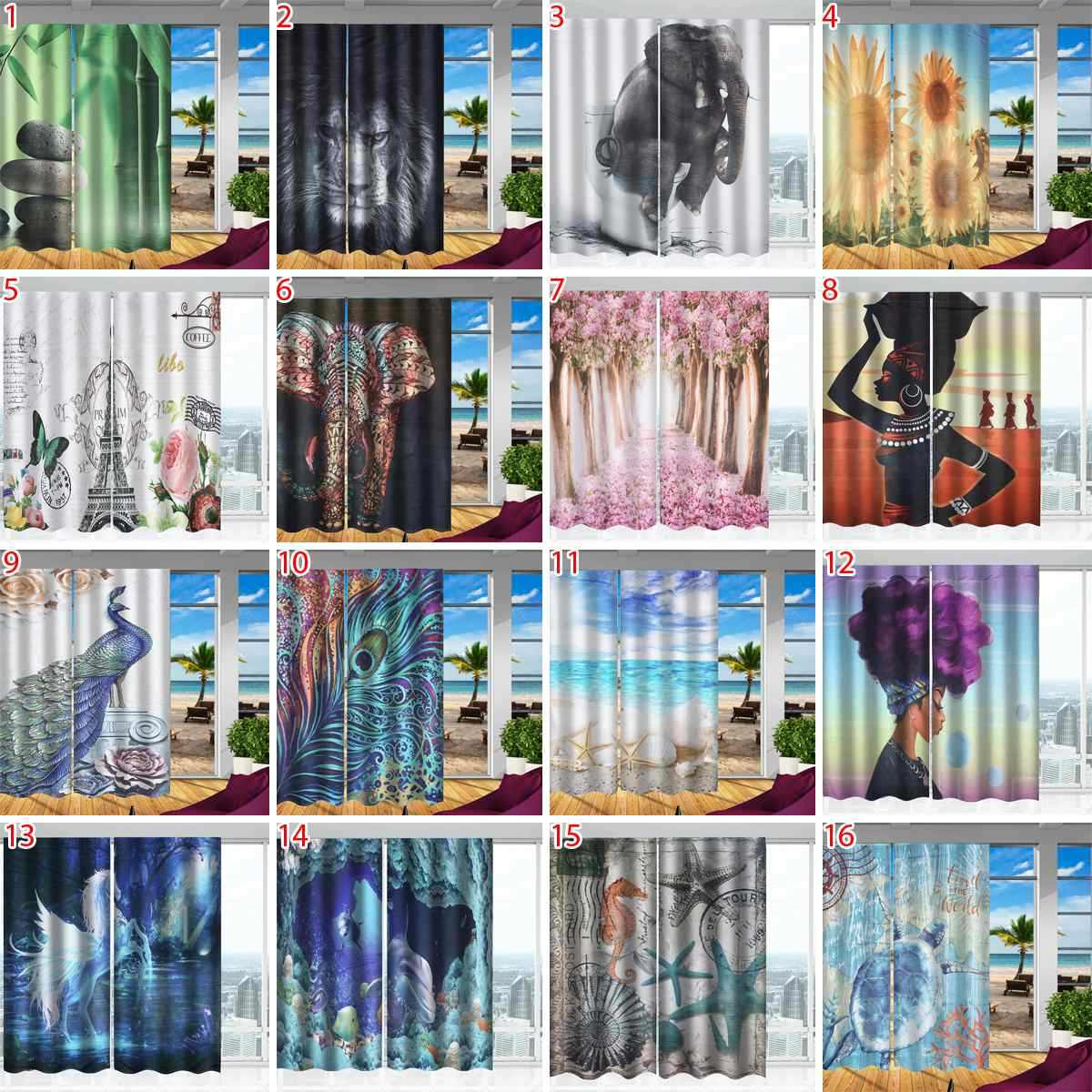 3D Print Window Curtains Multiple styles 3D Curtain 150*166cm 2Pcs/Set Window Curtain Modern bedroom Living Room Curtains
