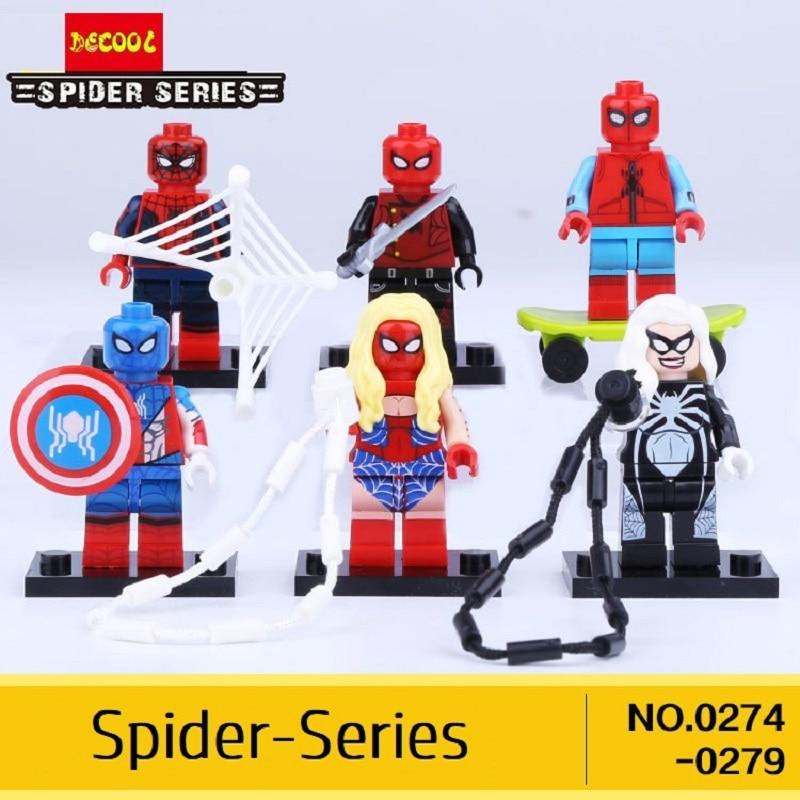 Spiderman 6pcs/lot 0274-0279 Decool Marvel Superheores Action Figures Plastic Building Blocks Fit For Movie For Minifigure