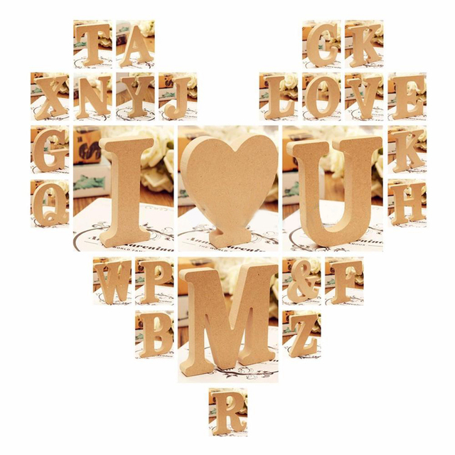 Freestanding A-Z Wood DIY Wooden Letters Alphabet Hanging Wedding Birthday Home Party Decor Design Decorations Arts Crafts 3