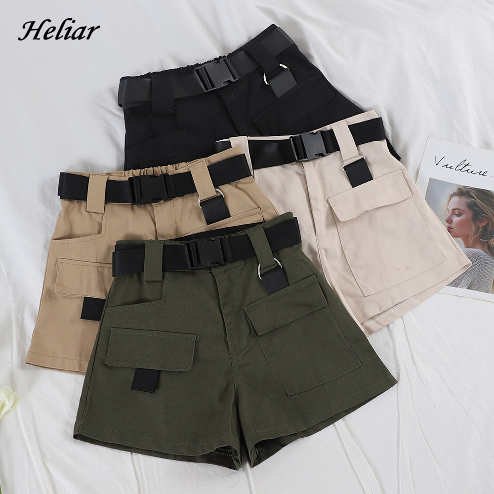 HELIAR Women Wide Leg Cargo Shorts 2020 Spring Autumn Street Wear Casual High Waist Short With Pockets Women Fashion Shorts