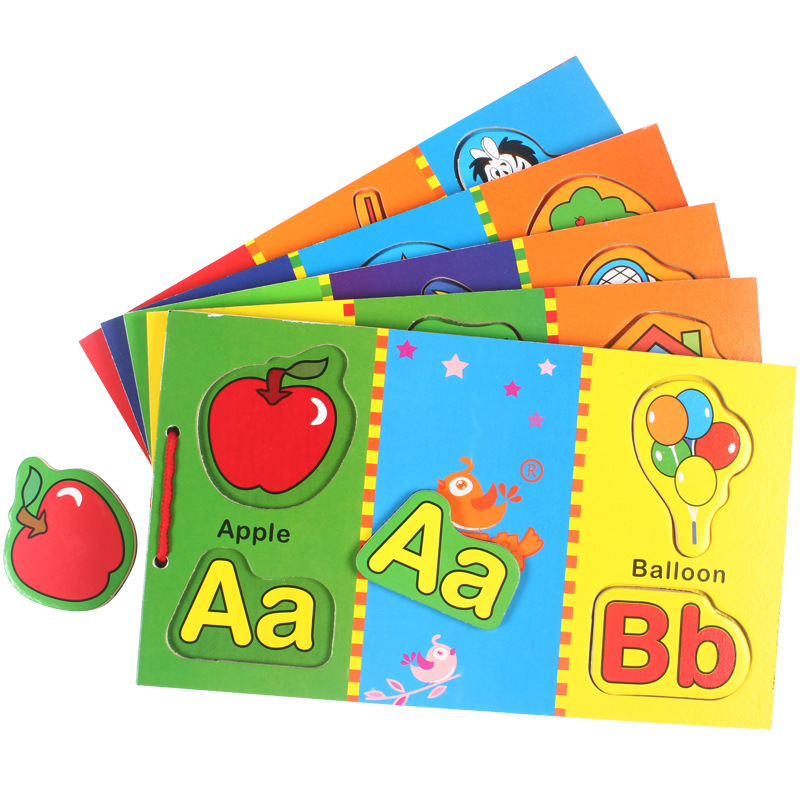 Magnetic Wooden Book pairing children 3-6 years English words learning Early Educational Toys Kids Wood Puzzles Gift