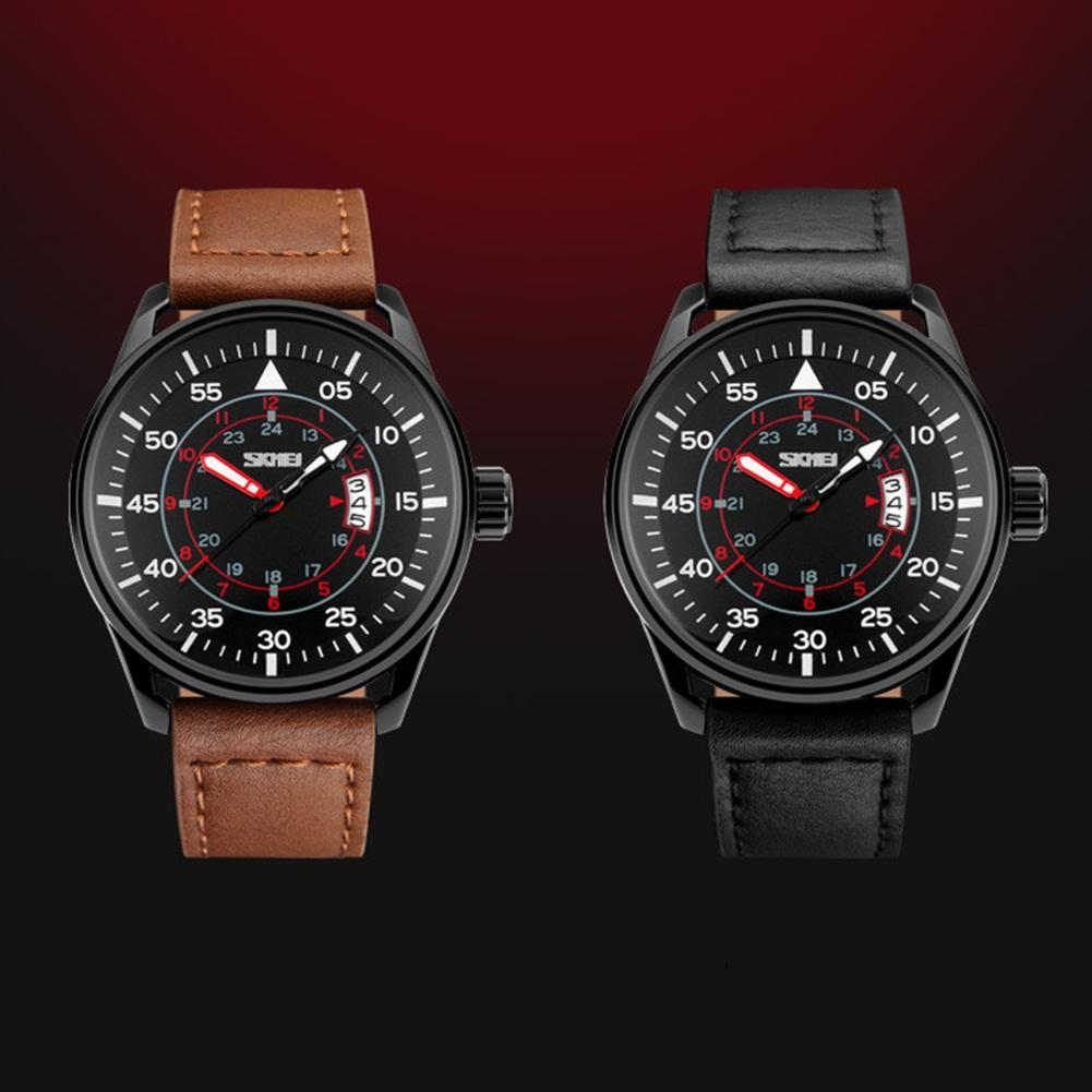 Leisure Genuine Leather Band Round Dial Waterproof Men Wrist Watch Date Display Mas-culino Fashion Men's Watch Large Dial Milita