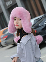 Fox fur hat female winter Korean version of fur Lei Feng hat Trend northeast snow hat warm earmuffs cotton cap