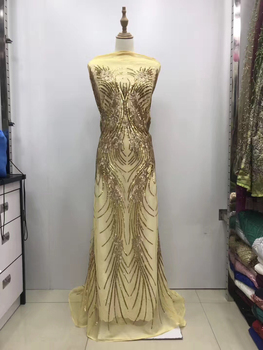 Silver Gold sequins lace fabric 2019 high quality nigerian lace fabric for wedding dress african tulle lace with sequins KJL9709