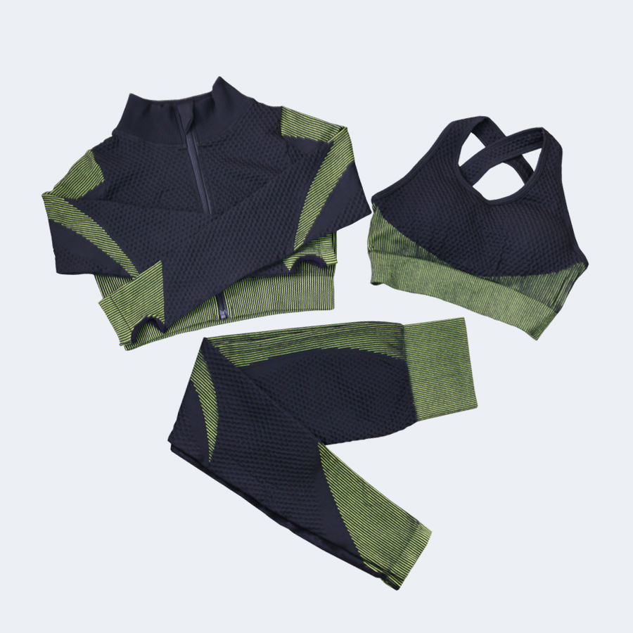 Fitness Suits Yoga Women Outfits Sets Long Sleeve Shirt+Sport Bra+Seamless Leggings Workout Running Clothing Gym Wear,LF051 6
