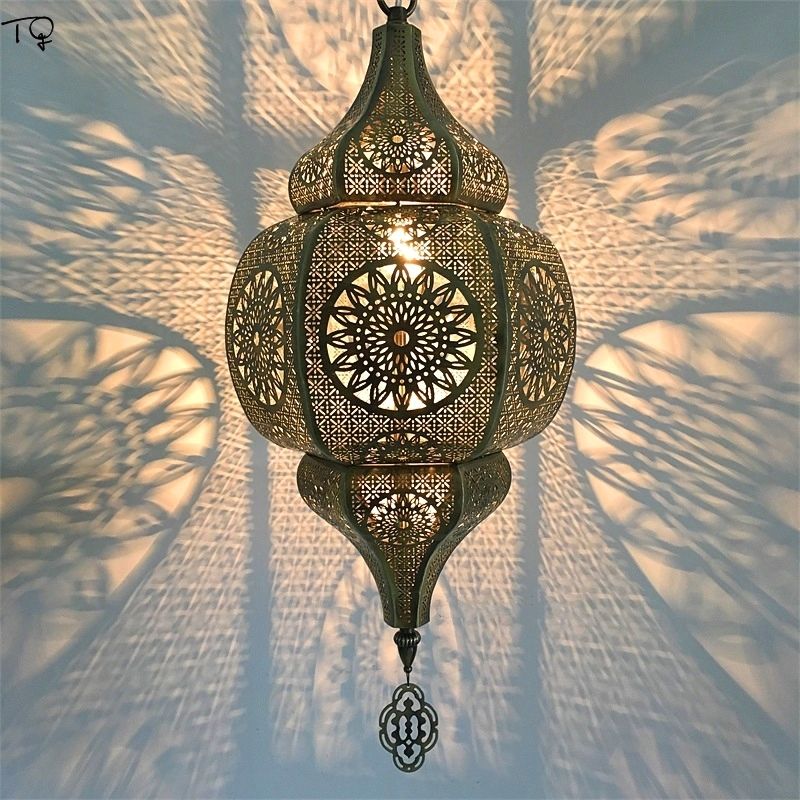 Morocco Retro Exotic Through-carved Led Pendant Lights Classic Postmodern Light Fixtures Industrial Lamp Restaurant Cafe Hotel