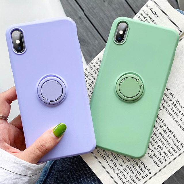 Luxury Soft Liquid Silicone Case For iPhone 11 Pro Max XS X XR 7 8 6 6S Plus SE 2020 Stand Ring Holder Cover iPhone11 iPhonex On 2