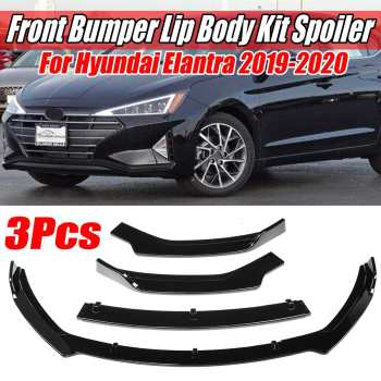 3 Piece Car Front Bumper Splitter Lip Diffuser Protector Deflector Body Kit Spoiler Splitter Cover For Hyundai Elantra 2019-2020