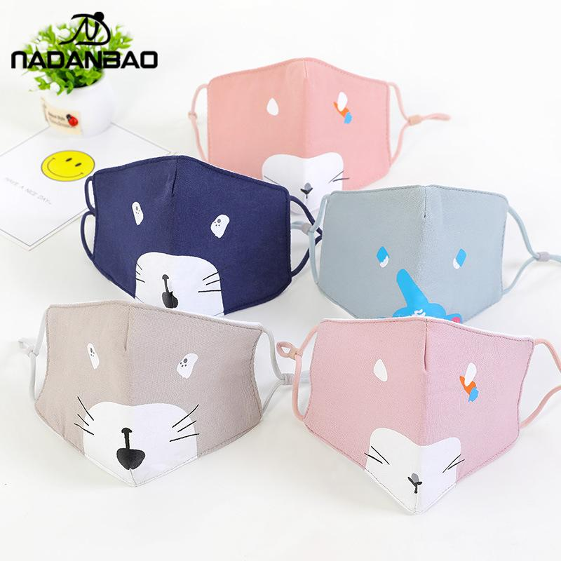 NADANBAO New Cartoon Cotton Kids Face Mask Pink Blue Fabric Mask Washable Cute Bear Fashion Girls Mouth Cover Dust-proof Earhook
