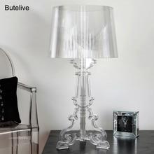 Stół akrylowy lampa kryształowa lampka nocna lampa biurkowa led Lamparas De Mesa Para El Dormitorio Tafellamp salon lampka do sypialni E27