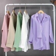 Colorfaith Neue 2021 Frühling frauen Bluse Solide Multi Farben Revers einreiher Elegante Casual Oversize Wilden Rosa Tops BL1383