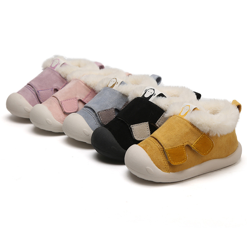2019 Winter Children Cotton-padded Shoes  Baby Boys Girls Toddler Soft Bottom Boots Baby New Plus Velvet Plus Warm Shoes