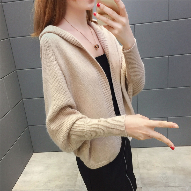 2019 Free send New style Korean loose and comfortable Autumn women Cardigan Sleeve of bat Hooded Sweater coat 124