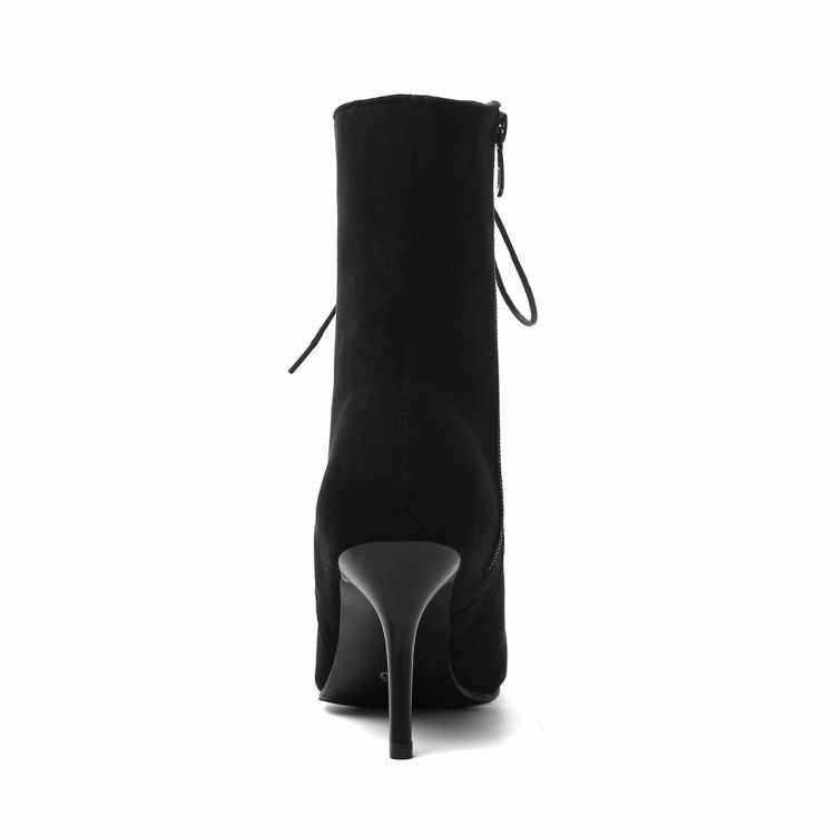 8cm kalem yüksek topuklu yarım çizmeler kadın sivri burun ön çapraz bağlı süet deri tüp botas mujer 42 43 büyük boy botines s554