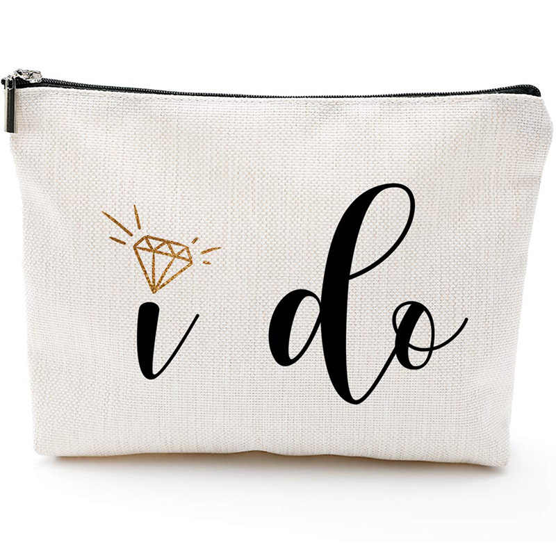 Bridal Shower Bride to be Gift I Do Canvas Makeup Bag travel Cosmetic Pouch Wedding engagement Vow Renewal decoration present