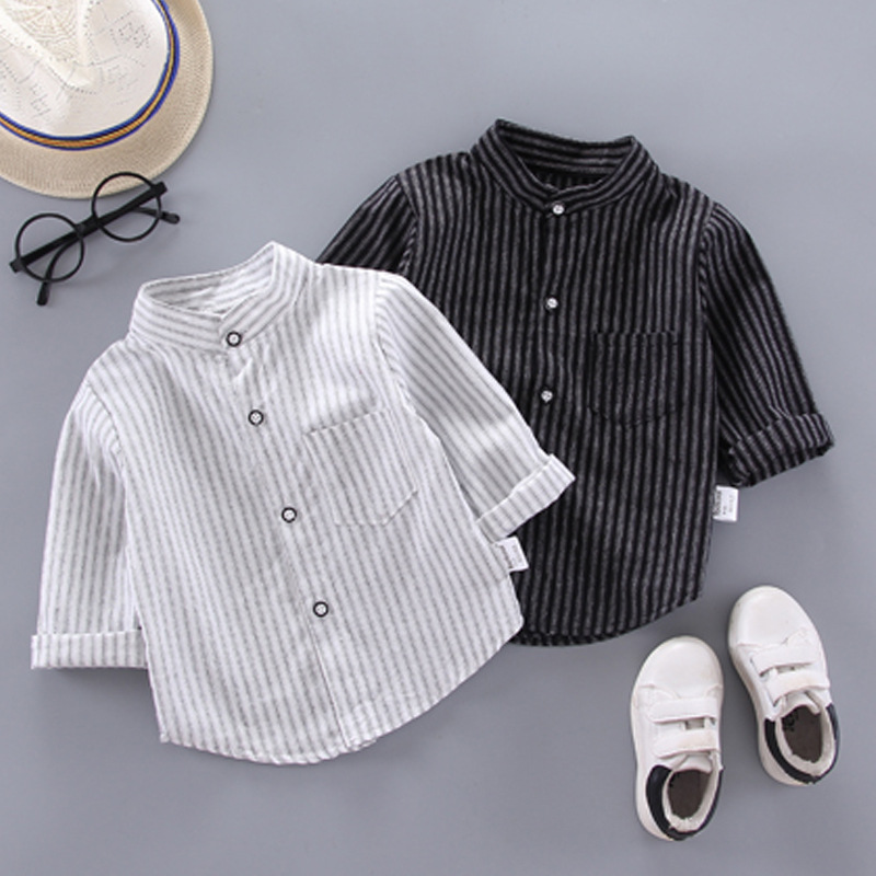 IENENS Autumn Shirts Baby Boys Long Sleeve Striped Print Shirts Kids Tops Tees Shirts Casual Blouse
