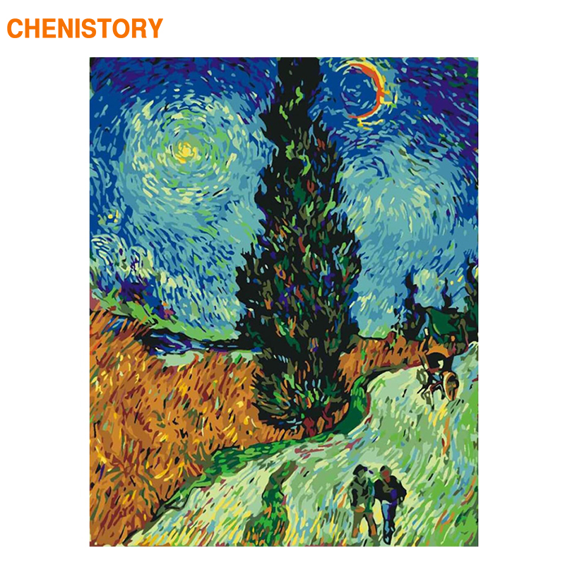 CHENISTORY Framed Famous Picture DIY Painting By Numbers Acrylic Coloring By Number Canvas Painting For Home Decors Gift Picture