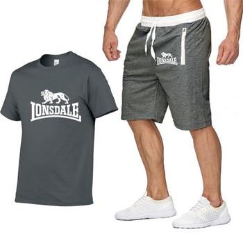 Men LONSDALE Sportswear Sets Short sleeve Summer T-shirts+ Short Pants 2020 New Fashion Men Casual Sets Shorts+T-shirts 2 pieces цена 2017