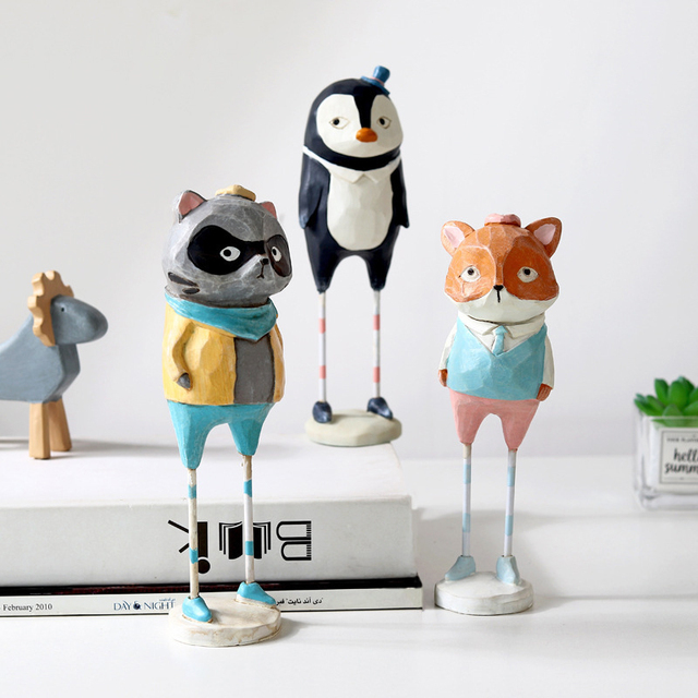Creative  home decoration accessories cute resin animal figurine living room bedroom desk decoration home decor birthday gift 5