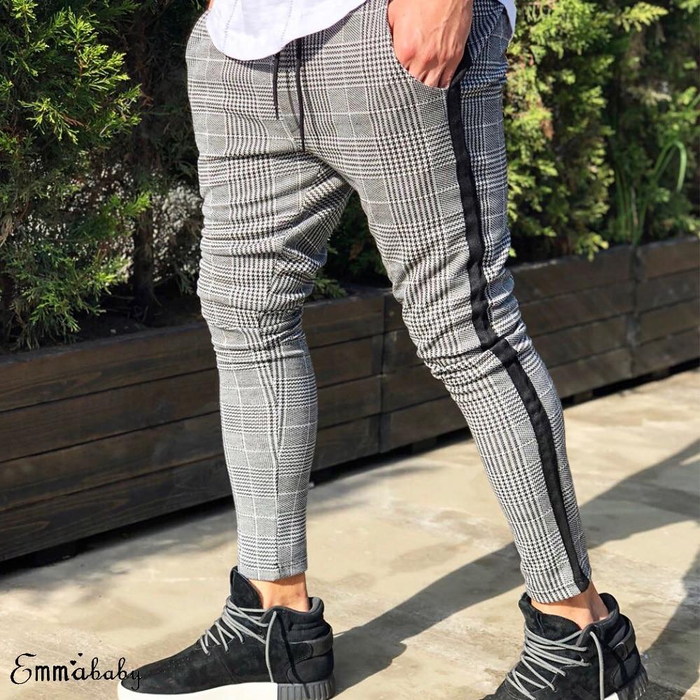 New Men's Casual Plaid Sport Long Pants Tracksuit Trousers Joggers Gym Sweatpants