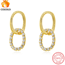 COLOGO New 100% Real 925 Sterling Silver Sparkling Zircon Stud overlapping pendant Earring For Women Jewelry Wedding Gift M699