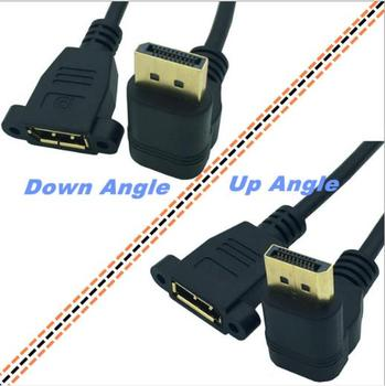 Gold DisplayPort Male 90° angle to Femalepanel mount Extension Cable 840*2160 resolution, 1080 Quad HD