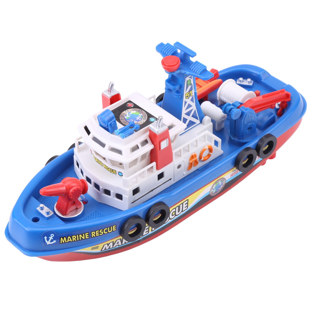 Children Electric High Speed Music Light Boat Marine Rescue Model Fireboat Toys For Boys Water Spray Fire Boat Educational Toy
