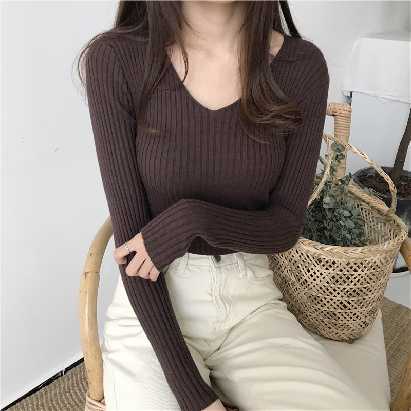 2020 Autumn Women V-neck Knitted Sweaters Solid Autumn Winter Female Sweaters Pullover Slim Long Sleeve Badycon Sweater Cheap