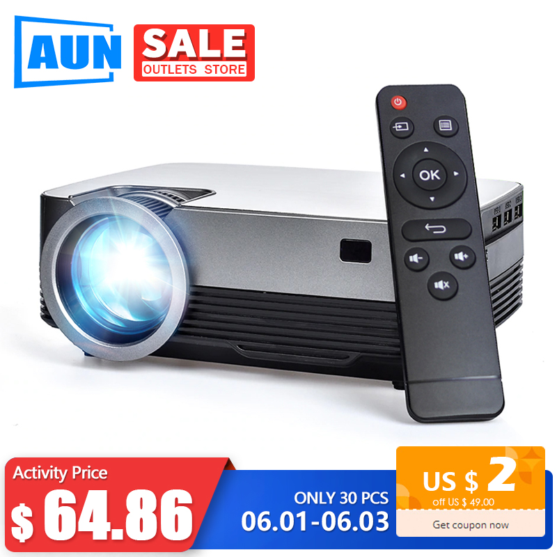 AUN MINI Projector Q6s, (Optional Android 10 TV Box) 1280x720P Video Beamer. Portable 3D Video Cinema Support 1080P,Home Theater