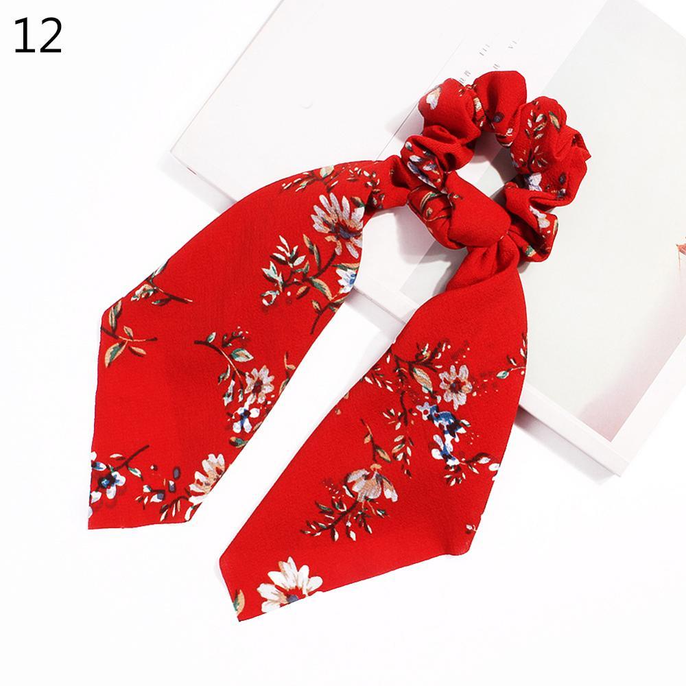 Bohème grande fleur chouchous longs banderoles arc cheveux écharpe femmes filles doux cheveux corde cravates mode cheveux accessoires chapeaux 64