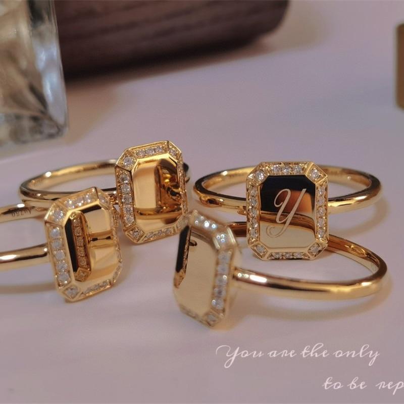 18K Yellow Gold Jewelry(AU750) Designer Letter Diamond Ring Square Brand Birthday Gift...