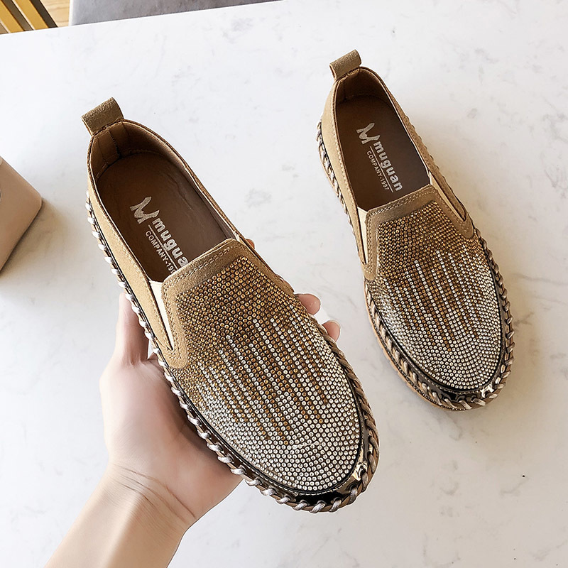 Women Flats Crystal Ladies Glitter Bling Loafers Patchwork Flat Platform Fashion Woman Spring Casual Moccasins Female Shoes 2020