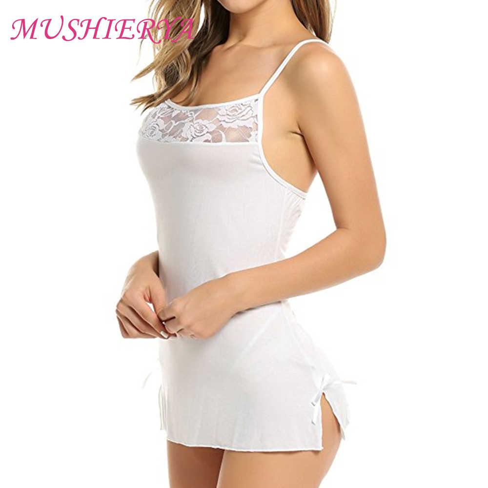 MUSHIERYA женские горячие сексуальные Сорочки нижнее белье мини babydoll пижамы с ремешками кружевное платье пижамы с стринги для женщин