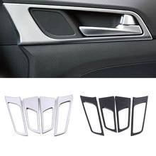 Cadre de poignée de porte intérieur en Fiber de carbone, garniture de décoration, accessoires pour Hyundai Tucson LHD 2015 – 2020