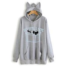 2019 New Winter Fashion Women Casual Long Sleeve Printed Cat Ear Hoodie Sweatshirt With Pocket Women Hooded Pullover Tops Blouse цена в Москве и Питере