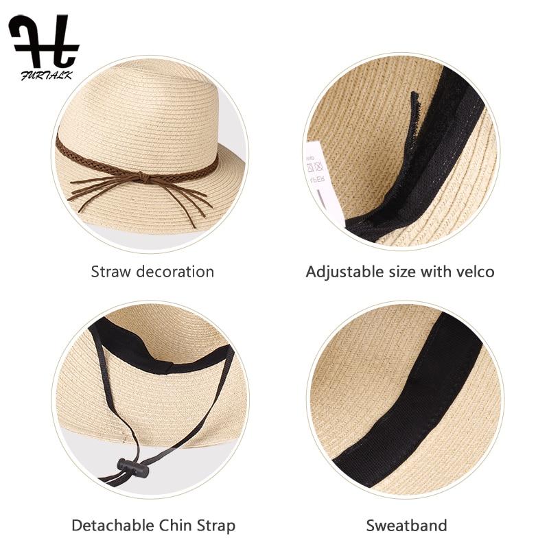 FURTALK Summer Hat for Women Straw Beach Hat Panama Sun Hats Fedora Bucket Caps for Female Summer Beach UV Cap chapeau femme 3