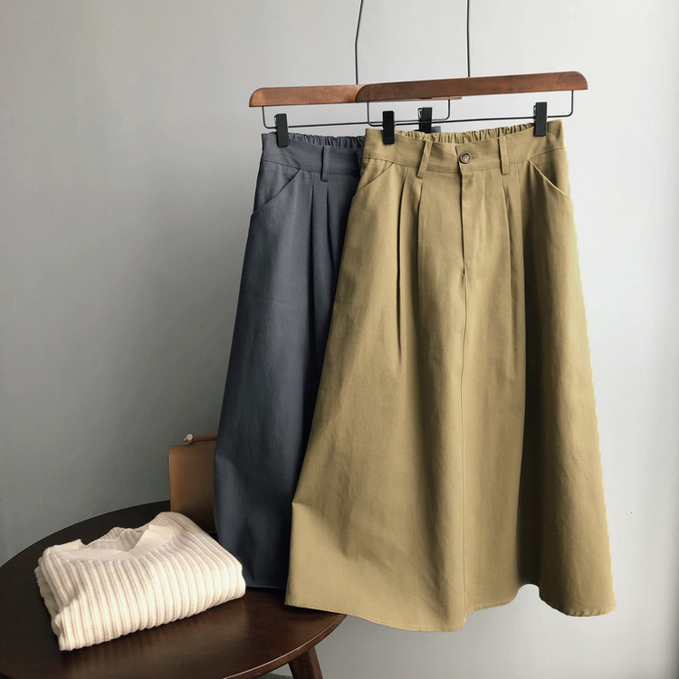 Sherhure 2020 Women Summer Stretch High Waist Skirts Vintage Women Cotton A-Line Long Skirt Faldas Jupe Femme Saia
